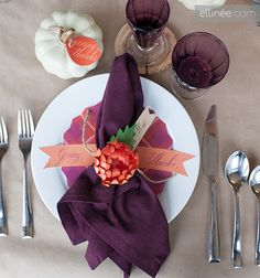 My table idea for  Thanksgiving Table...my main colors are purple in my living room and kitchen