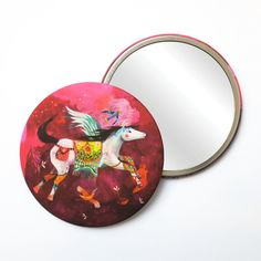 Round Pocket Makeup Mirror - Pegasus and Friends Free Black, Black Mirror, French Artists, Pegasus, Small Gifts, Pocket, Friends, Makeup, Illustration