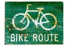 """Bike Route"" Rustic Wall Sign, Green"