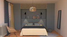 Décoration chambre tête de lit et dressing sur mesure peinture flamant couleur bleu baleine