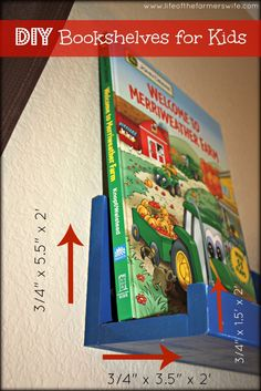 {{Easy DIY Bookshelves for Kids}} Instructions on how to make bookshelves for very cheap!  Adds great decor to any child's room or baby's nursery. {www.lifeofthefarmerswife.com}