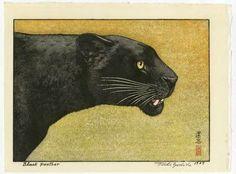 Toshi Yoshida Japanese Woodblock Print Black Panther 1987 | eBay