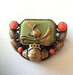 Art deco Czech - Neiger - Brooch - Jade & Coral Glass Oriental Dragon Brooch | eBay