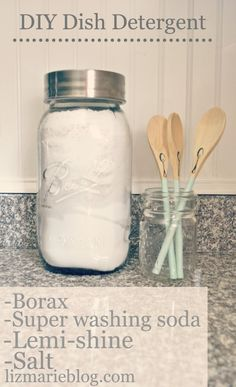 Borax- Found in laundry aisle {one box: 4lbs 12oz}  Super washing Soda- Not baking soda. Also found in laundry aisle  Lemi-shine- Found in dish detergent aisle {For hard water stains & build up}  Salt- You can use epsom salt. 1cup