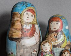 "Designer's matreshka * A set of nesting dolls * babushka * ""Bon appetit!"" * 5 pieces -    Edit Listing  - Etsy"