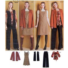 This pattern is packed! It comes with a square necked dress/jumper, a jacket , a boho top, vest, pants and a belt. Women's Size 10