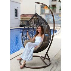 Island Gale Hanging Basket Chair Outdoor Front Porch Furniture with Stand and Cushion (Brown Wicker, Beige Cushion) Front Porch Furniture, Outdoor Wicker Patio Furniture, Outdoor Lounge Chair Cushions, Outdoor Chairs, Egg Swing Chair, Swinging Chair, Wicker Swing, Patio Swing, Nest Chair
