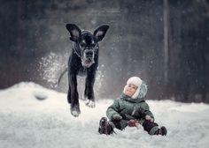 15 фотографий детей и огромных собак, играющих вместе, которые поднимут вам настроение на весь день