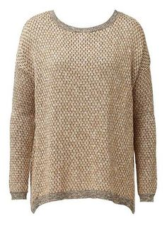 Cotton blend long sleeve sewater in textured all over multi coloured stitch. Features curved and dipped hem at front and back. Regular A-Line fitting silhouette. Available in Multi as shown.