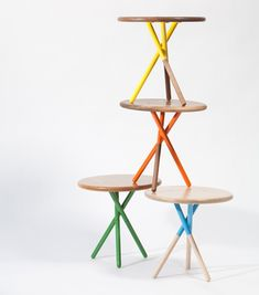 This is a fun idea for the kids Playroom...I'm sure we could find small unfinished round tables and add these great colors to them...hmmm...I think a project is brewing!
