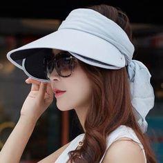 82c9d998003 Ribbon bow sun visor hat for women summer UV wide brimmed hats