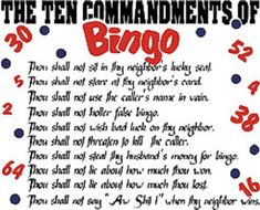 The Ten Commandments Of Bingo White Short Sleeve T-Shirt Any Size ~Funny~ Bingo Pictures, Bingo Funny, Bingo Quotes, Bingo Night, Game Night, Mary Ellis, Bingo Party, Senior Night Gifts, Adult Birthday Party