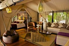 """Living area"", luxury family tents. Masai Mara, Kenya.. http://www.heritage-eastafrica.com/tented-camps/mara-intrepids/"