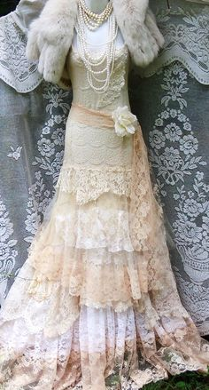 Cream wedding dress lace tulle tiered nude by vintageopulence
