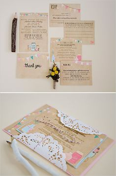 Colorful bunting wedding invites. Love them! http://www.weddingchicks.com/2014/06/24/wedding-paper-giveaway/