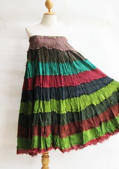 S3, Wavy Hippie Colorful Green Cotton Skirt 2
