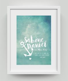 Du bist auf der Suche nach einem besonderen und erschwinglichen Hochzeitsgeschenk? Die Namen des Brautpaar's und das Hochzeitsdatum werden individuell eingefügt, damit das Bild eine persönliche...