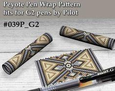 Peyote pen cover patterns, pattern for G2 pen by Pilot, pen wrap, peyote patterns, beading, peyote stitch, digital file, pdf pattern #039PG2