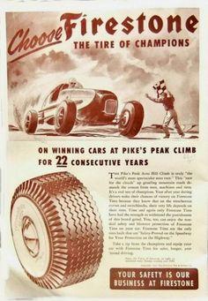 Firestone ad for the Pikes Peak Hill Climb