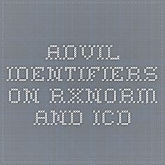 Advil identifiers on RxNorm and ICD