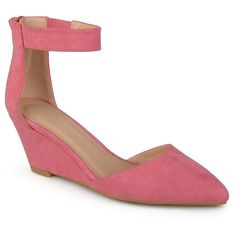 Women's Journee Collection Kova Faux Suede Ankle Strap Pointed Toe Wedges - Pink 6