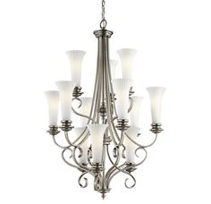 Buy the Kichler Brushed Pewter Direct. Shop for the Kichler Brushed Pewter Abbeyville Chandelier with 12 Lights - Chain Included - 30 Inches Wide and save. Chandelier Lighting Fixtures, Glass Chandelier, Light Fixtures, Chandelier Ideas, Park Lighting, Cool Lighting, Brushed Nickel Chandelier, Large Chandeliers, Lowes Home Improvements