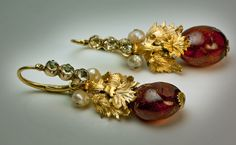 Antque Amber Earrings - c. 1780 - Russian - irregular polished brandy amber drops - 18 k gold leaves - $10,000