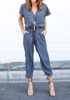 Blue Plain Pockets Drawstring Mid-rise Casual Long Jumpsuit