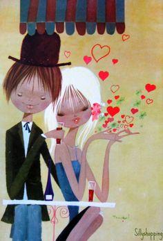 Vintage Big Eyed Couple Postcard | por Sillyshopping