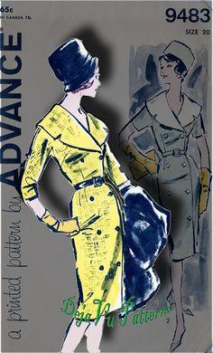 Advance 9483 Vintage 1960s Coat Dress Sewing Pattern by DejaVuPatterns