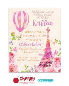 Bridal Shower Invitation/ Eiffel Tower by CherryModernPrintsDS