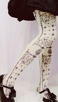 21ffed9946727 Popular Harajuku style white tights with a gothic print in a wine colour  Material: Nylon