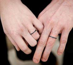 wedding ring tattoo designs | Wedding ring tattoo designs with super simple black lines Wedding Ring ...