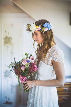 La robe Camélia, sublimée par notre jolie mariée Pauline. #elisehameau #weddingdress #robedemariée #realbride