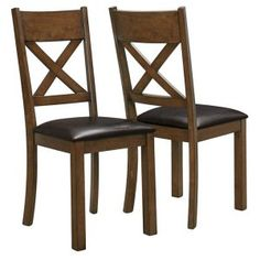 Monarch Pike Creek Walnut Cross Back 2 Piece Dining Chairs   I 1551