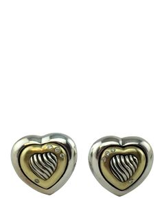 David Yurman Sterling Silver Thoroughbred Heart Earrings featuring burnished set diamonds and 18k yellow gold. Condition: Excellent. Very minor surface scratches throughout. - Sterling silver. - 18k g