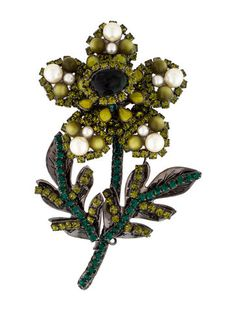 Lawrence Vrba Green Crystal, Glass and Pearl Flower Pin