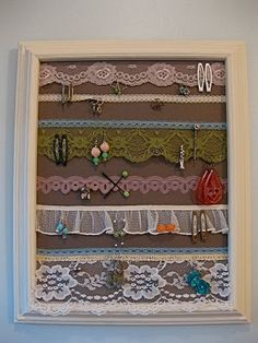 jewelry organizer made with lace.