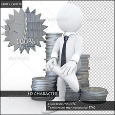 Businessman Sitting on a Pile of Coins by real_texelart Image of a white character sitting on a pile of coins. Wears a tie and cuffs. Rendered on a white background with diffuse shadows.