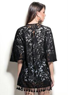 Kimono Preto em Renda | COLCCI