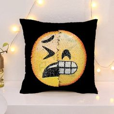 """Emoji flip sequin pillow cover Fits a 15 """" x pillow Pillow not included Other"""