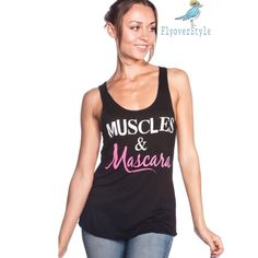 Muscles & Mascara Tank Please comment with your size and I'll create your listing to purchase! ChicBirdie Tops Tank Tops