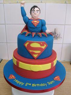 Two Tier Superman Birthday Cake