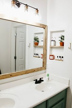 I've been working on their bathroom for the past couple weeks anytime I get some down time! Cheap Bathroom Remodel, Kid Bathroom Decor, Bathroom Renovations, Master Bathroom, Bathroom Lighting, Budget Bathroom, Diy Bathroom Ideas, Kid Bathrooms, Condo Bathroom