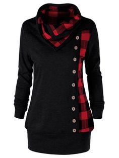 18c38e2b Gamiss Women Autumn Spring Sudaderas Plus Size 5XL Plaid Cowl Neck  Sweatshirt Single Breasted Button Embellished