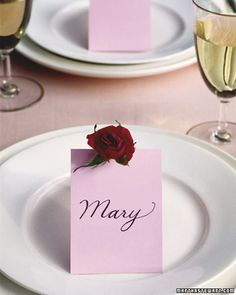 Blooming Place Card Valentine's Ideas | Martha Stewart Living - A rose by any name smells sweet -- so why not create place cards decorated with blooms for a romantic dinner for two?