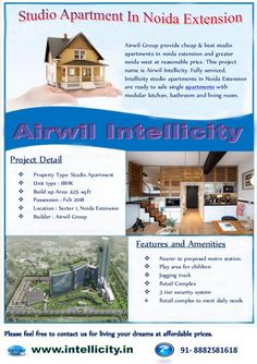 Airwil Group provide cheap & best studio apartments in noida extension and greater noida west at reasonable price. This pr...