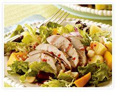 Hawaiian Cobb Salad - Ingredients 1 pound teriyaki-marinated pork tenderloin 1 bag European salad mix 1 cup fresh pineapple, cubed 1 cup mango, cubed cup macadamia nuts, toasted and chopped cup prepared raspberry walnut vinaigrette Leftover Pork Recipes, Healthy Pork Recipes, Grilling Recipes, Salad Recipes, Marinated Pork, Grilled Pork, Pork Tenerloin, Cobb Salad Ingredients, Hawaiian Salad