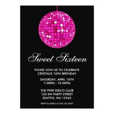 Pink and Black Disco Ball Sweet Sixteen Birthday Card