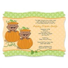 Twin Little Pumpkins African American - Personalized Baby Shower Invitations.  Go to: http://www.modern-baby-shower-ideas.com/Fall-baby-shower.html use coupon code: modern11 and save 11%